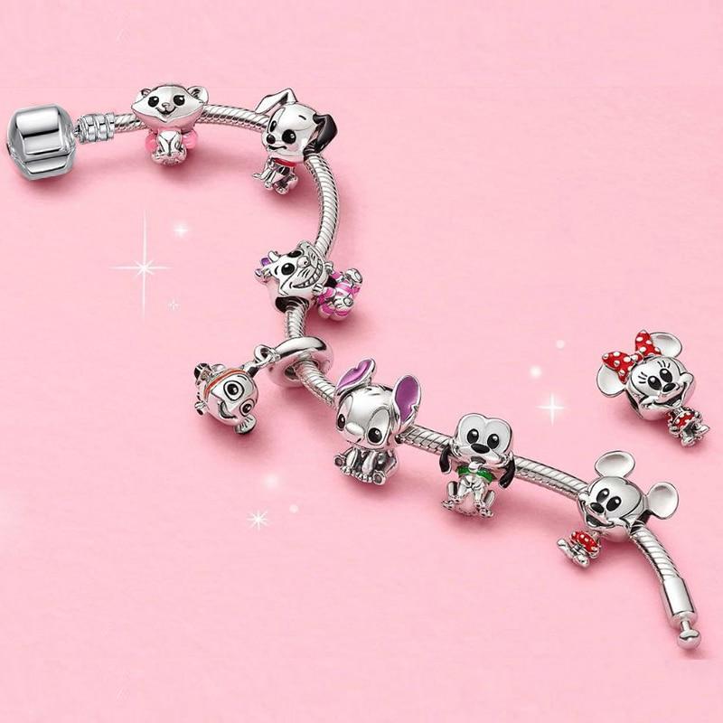 BAOPON High Quality Charm Bracelets For Women With Catoon Dog & Cat & Mickey Beads Fits Brand Bracelet Jewelry Friendship Gift