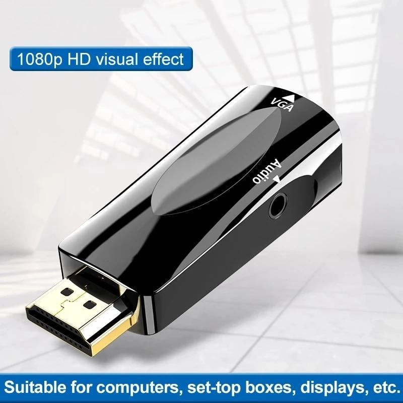 Convertidor de vídeo con adaptador vga, convertidor con conexión hdmi y cable macho para pc y hdtv, 1080p