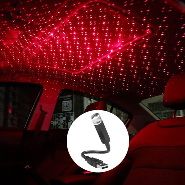 Adjustable Lens Laser Projector Mini USB LED Car Light Interior Atmosphere Decorative Lights Bird's nest, Time Tunnel