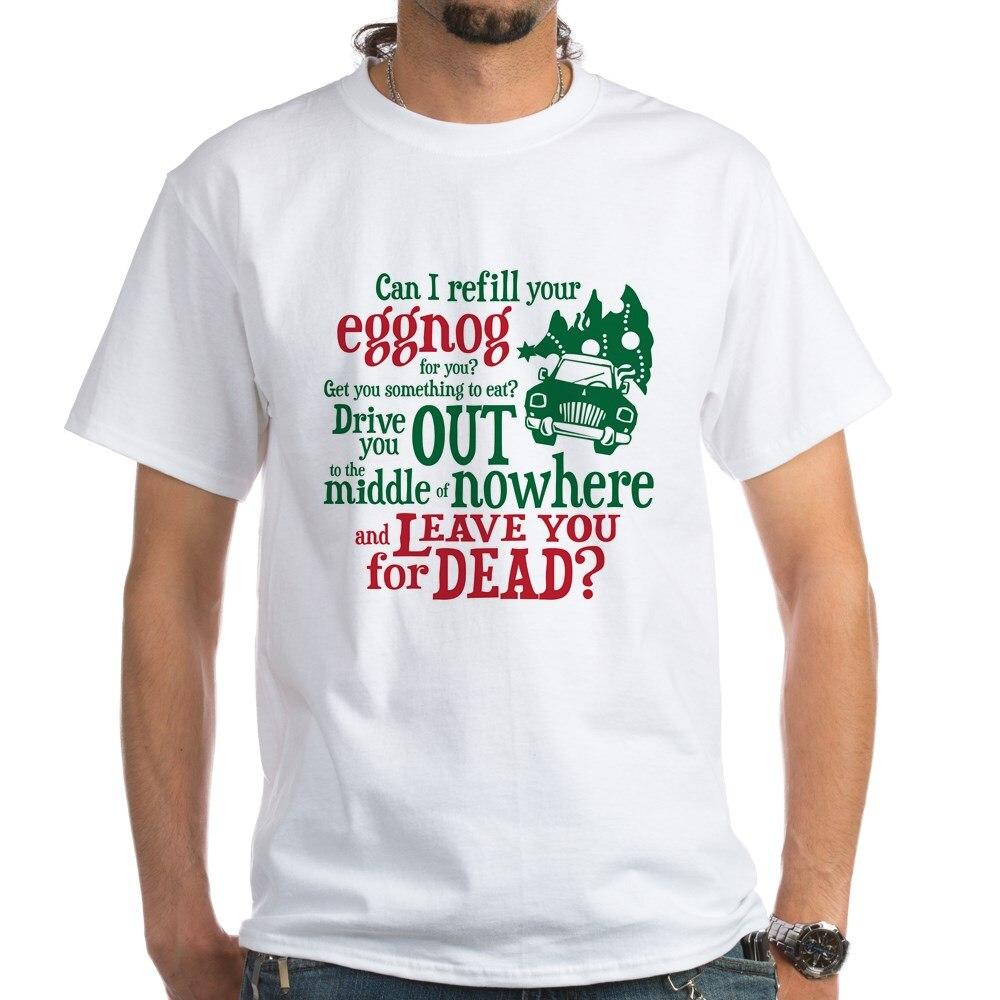 Camiseta blanca divertida con frase de Eggnog