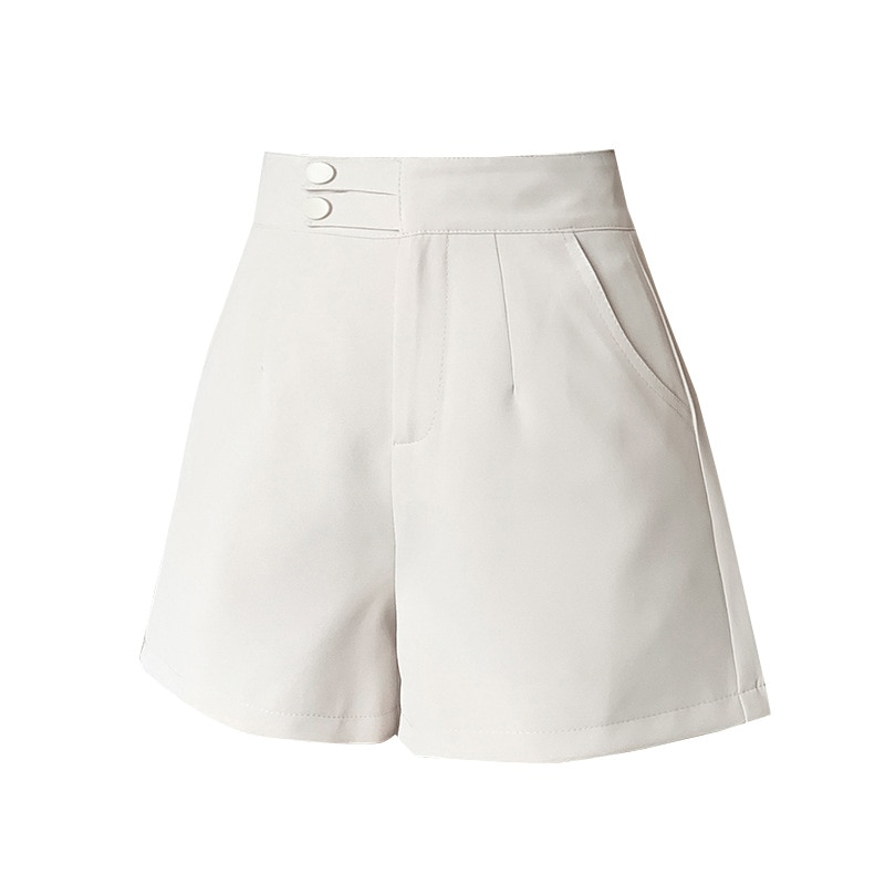 Korean Fashion Solid Loose Suit Shorts Women High Waist Wide Leg Casual Short Pants Elegant Ladies Pocket Black Shorts  - buy with discount
