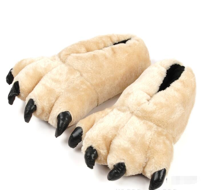 Soleado Everest 2018 de pata de oso de algodón zapatillas de garra de oso de grano de leopardo zapatos de fiesta para hombres Zapatillas de casa interior 28cm/30cm