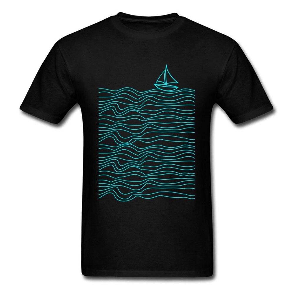 Camiseta con estampado de barco marino para hombre De Arte de Línea...