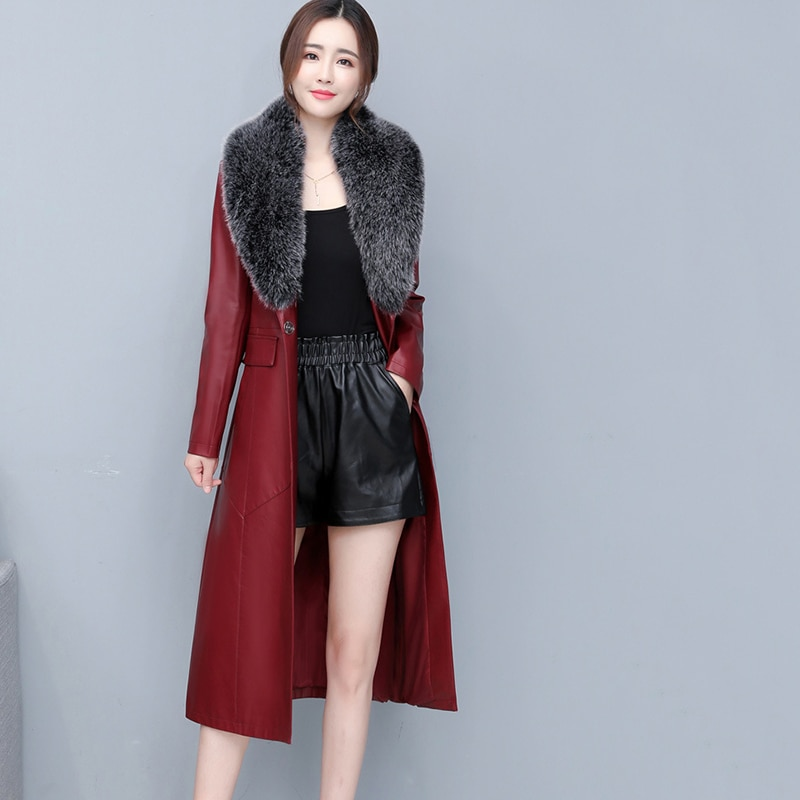 Outerwear Autumn Winter Fashion Women Leather Jacket 2021 New Big Fur Collar High Quality Slim Solid color Women Jacket JK254 enlarge
