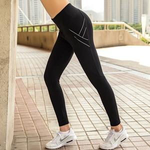 Подходит для фитнеса с высокой талией, Женские Эластичные Обтягивающие быстросохнущие штаны с карманами, спортивные штаны для бега, Тонкие ...