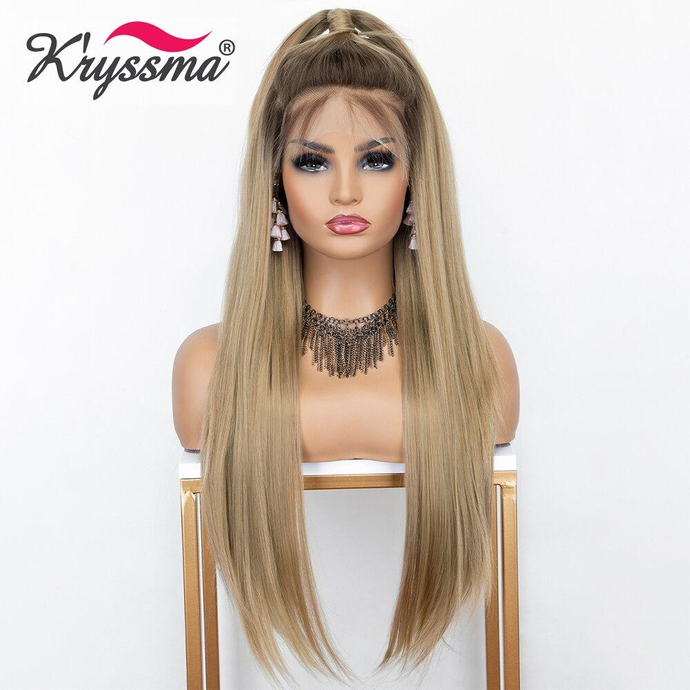 Kryssma 13 × 6 peruca dianteira do laço ombre loira longa reta perucas sintéticas para mulheres cosplay peruca com raízes escuras fibra resistente ao calor