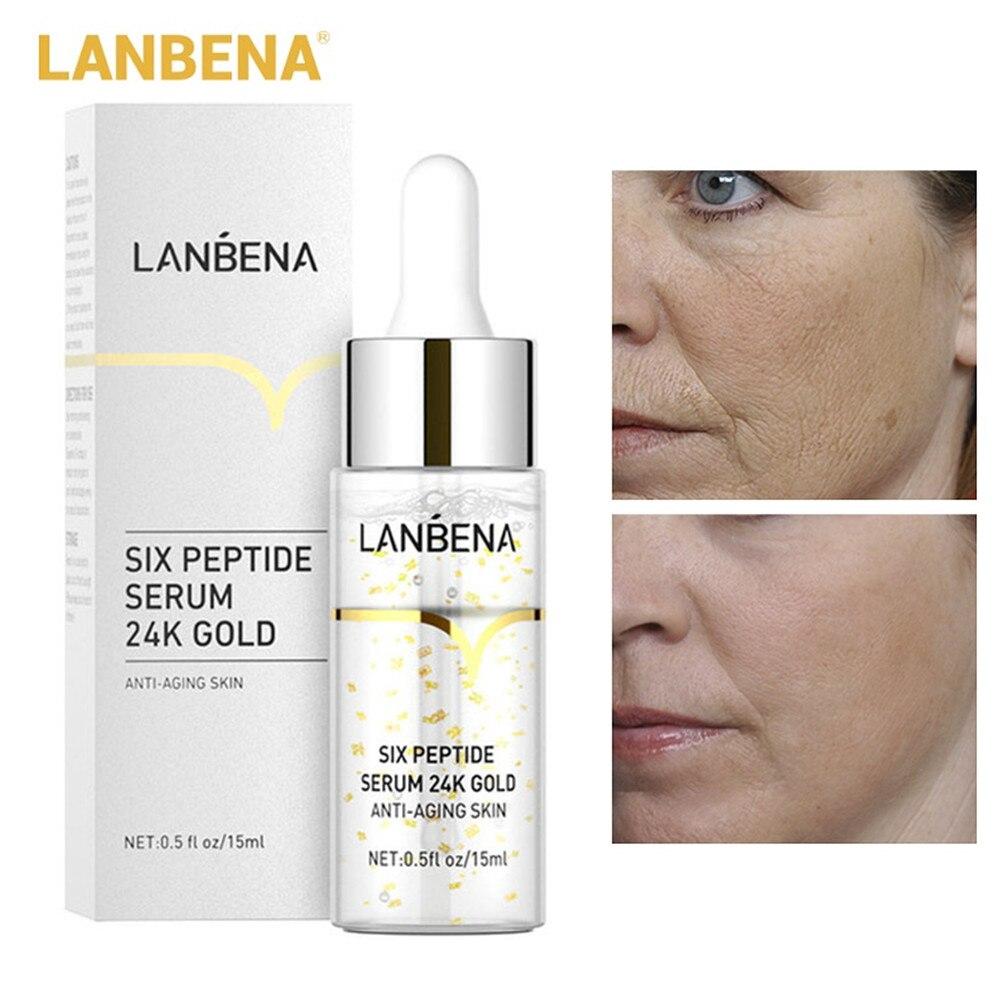 LANBENA Facial Serum 24K Gold Six Peptides Serum Anti-Wrinkle Anti-Aging Face Serum Essence Moisturizing Whitening Fade Freckles недорого