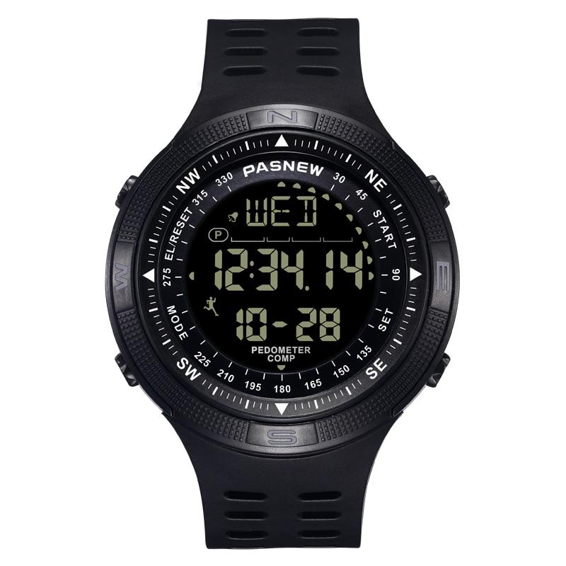 PASNEW reloj hombres reloj deportivo LCD 50M impermeable nadar ver hologe mannen