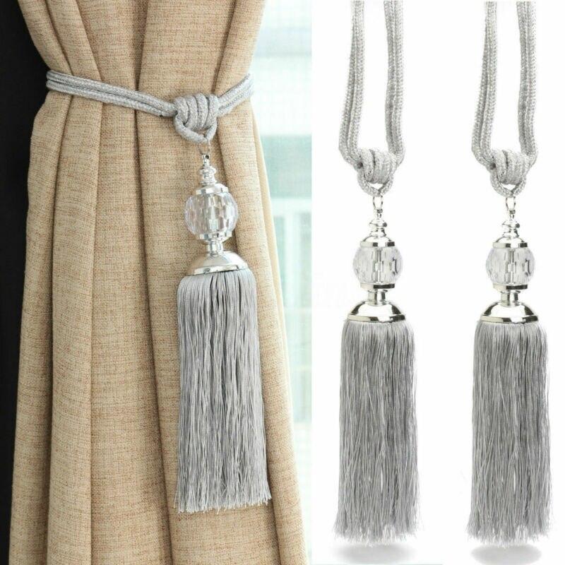 Chinesische Klassische Stil 2Pcs Vorhang Holdbacks Seil Krawatte Rücken Quaste Perlen Raffhalter Kristall Ball Decor