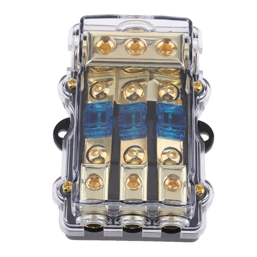 Bloque de Distribución de Energía acepta cables de calibre de 4/8 AWG, soporte de fusibles AGU 60A (3 en 1 out), fusibles en línea de alta potencia