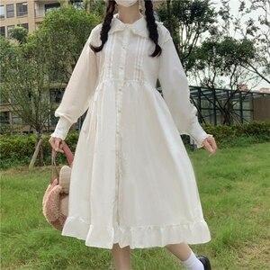 Japanese leated Long-Sleeved Waist Hugging  College-Style Long Ruffled fairy dress  tea party  lolita dress  sweet lolita doll