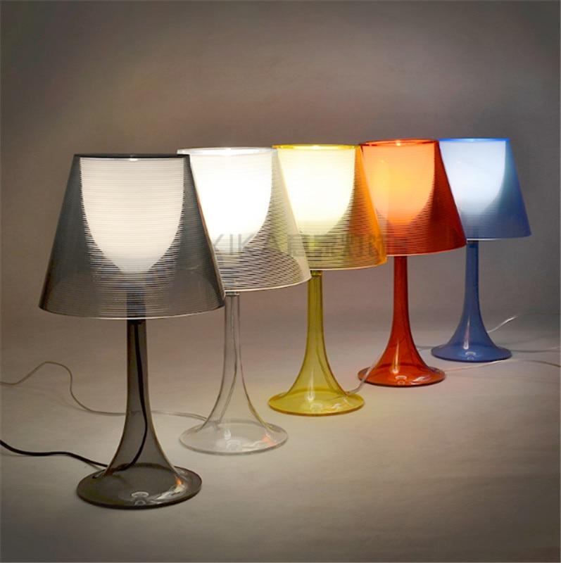 Lámpara de mesa transparente moderna Luz de mesa de varios colores iluminación de mesa de dormitorio Lámpara de lectura para escritorio