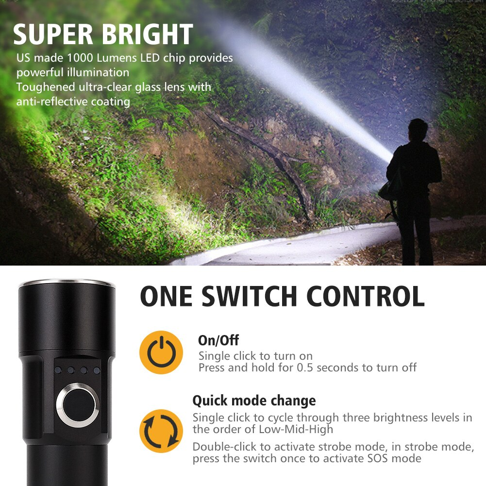 Foxhawk 1000 Lumen LED Flashlight, Super Bright Tactical Flashlight, USB Rechargeable, Portable, Waterproof, for camping,fishing enlarge