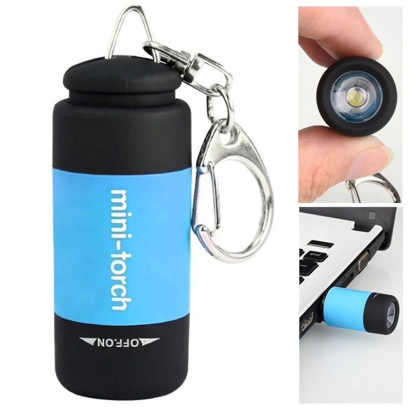 Carga USB pequeña linterna de bolsillo luz LED llave portátil anillo para linterna lámpara antorcha llavero recargable antorcha decorativa/ym