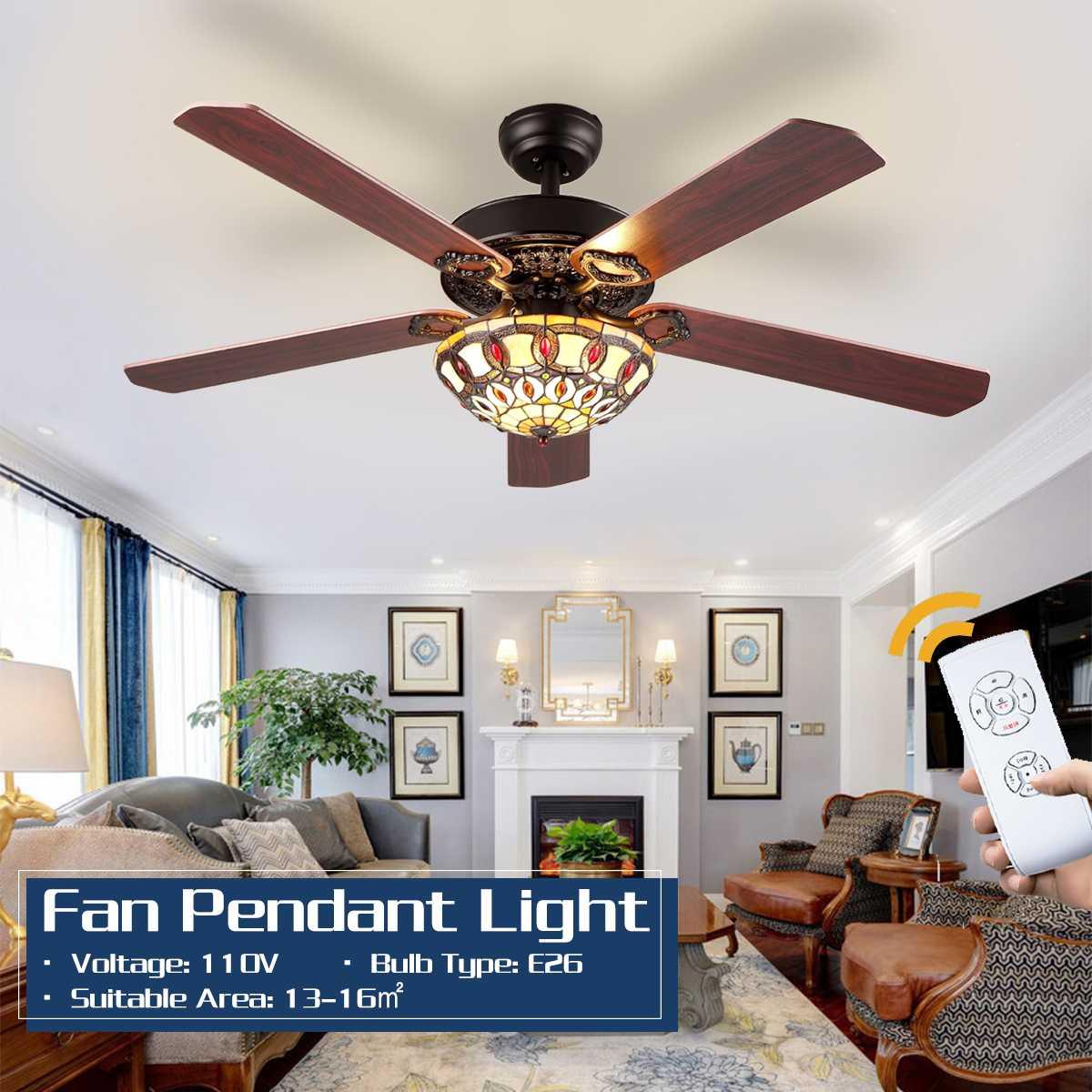 Ventilador de teto de madeira com luzes, ventilador de teto de madeira com controle remoto, 52 familiar, 110v