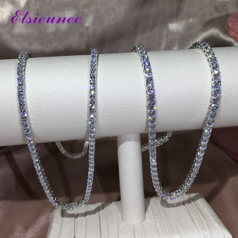 ELSIEUNEE Classic Real Silver 925 Jewelry Chains Tennis Necklaces for Women Simulated Moissanite Diamonds Fine Jewelry Wholesale
