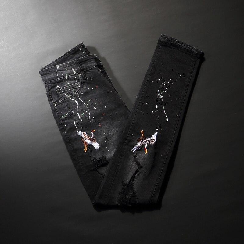 Модные мужские джинсы в американском уличном стиле, дизайнерские черные зауженные рваные джинсы с вышивкой, мужские дизайнерские брюки с р...