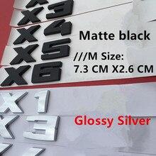 Badge autocollant de coffre de voiture   Noir mat, Chrome, argent, emblème de lettres, pour BMW X1M X2M X3M X4M X5M X6M F10 F20 F30 E36 E39 E60 E87 E90