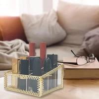 lipstick organizer 9 slots handmade glass and brass lipstick holder transparent lip gloss display decoration for dresser
