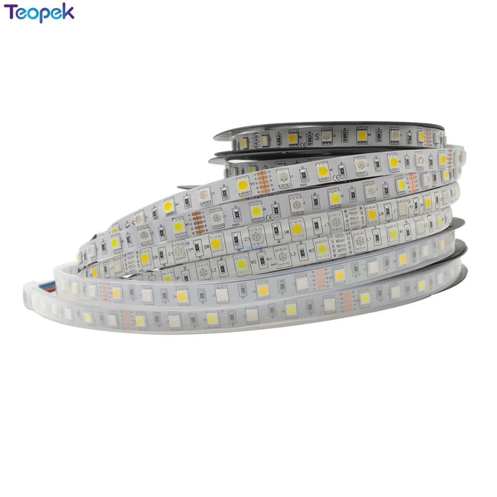RGBW LED Strip SMD 5050 5m 60led/M 300 leds RGB +Cool White Or Warm White RGBWW RGBCW LED Tape IP30/IP65/IP67 10mm PCB DC12V