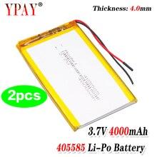 Batterie au lithium polymère 3.7V 405585 MAH, 2 pièces, pour machine de jeu MP3 MP4 MP5, batterie au lithium 4000MAH, GPS