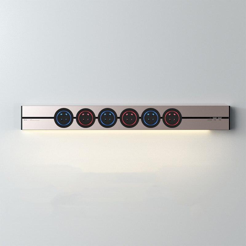 Pista de alimentación montada en la pared 120cm con 2,4 a USB * 2 tira de luces Led enchufes orbitales eléctricos 6 adaptadores salida Flexible plata gris