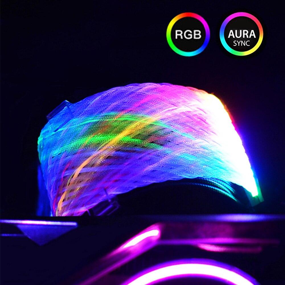 ملحقات علبة الكمبيوتر 24 دبوس صافي نوع RGB سلك مصباح مزامنة تمديد الطاقة كابل PC موصل موصل