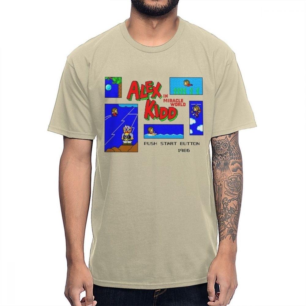 Ретро размера плюс Alex Kidd In Miracle World Game Pixel 8 Bit футболка с рисунком из натурального хлопка la Camiseta