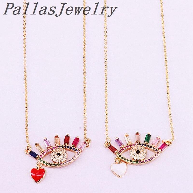Collar de joyería para mujer de circonita arcoíris de moda con colgante de ojo pavimentado Micro CZ multicolor de 10 piezas