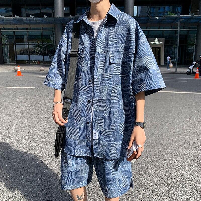 Summer Shorts Set Men Fashion Short Sleeve Shirt Suits Man Origin Design Patch Plaid Casual Oversized Clothing Black Blue 5XL