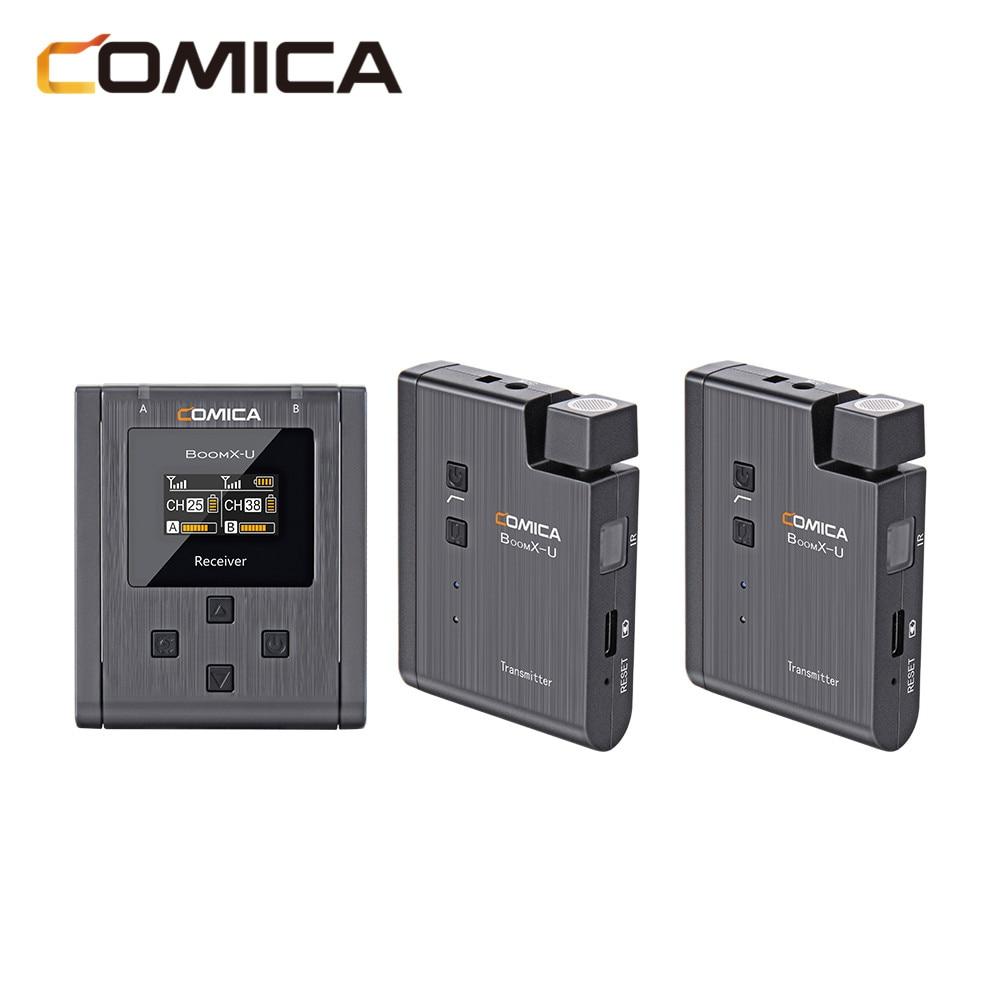 COMICA-ميكروفون رقمي لاسلكي احترافي Boom U ، ميكروفون صغير UHF احترافي مع أوضاع إخراج أحادية/ستيريو ، ميكروفون تلسكوب لاسلكي للكاميرات/الهاتف