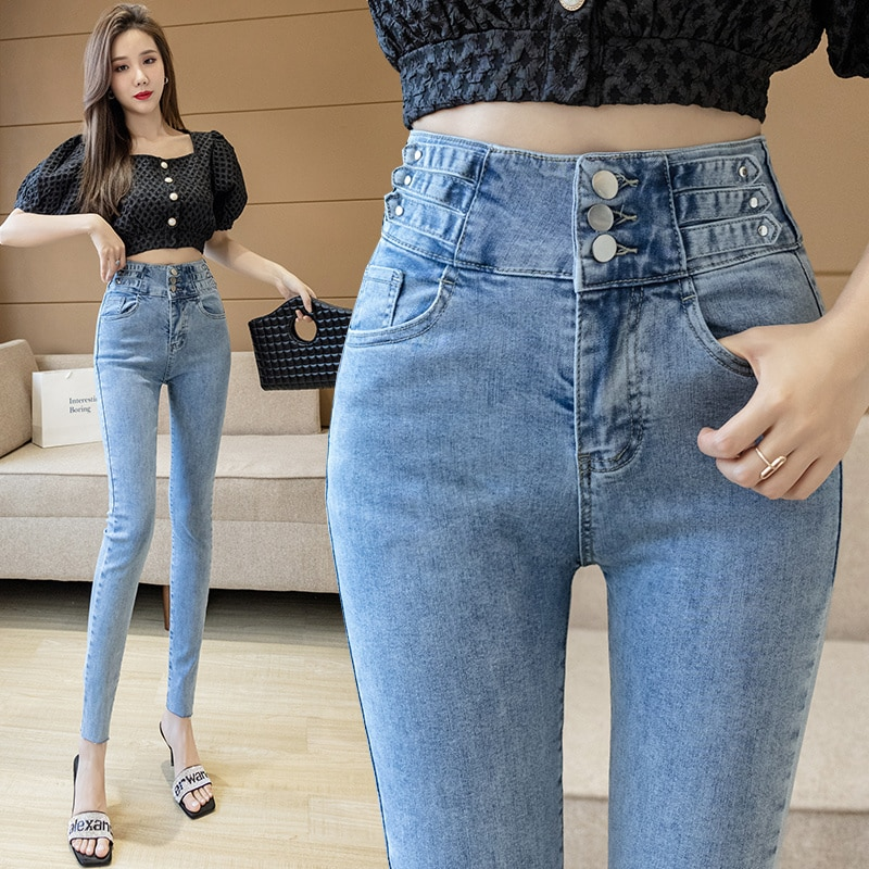 Women's High Waist Slim Jeans 2021 Autumn Korean Style Stretch Slimming Versatile Pencil Pants Cropp