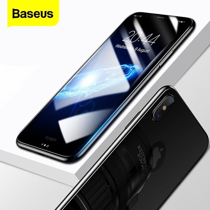 Protector de pantalla de para el iphone x 10 de vidrio templado parte frontal trasera Baseus película de cuerpo completo película vidrio protectora a prueba de rasguños para iPhoneX
