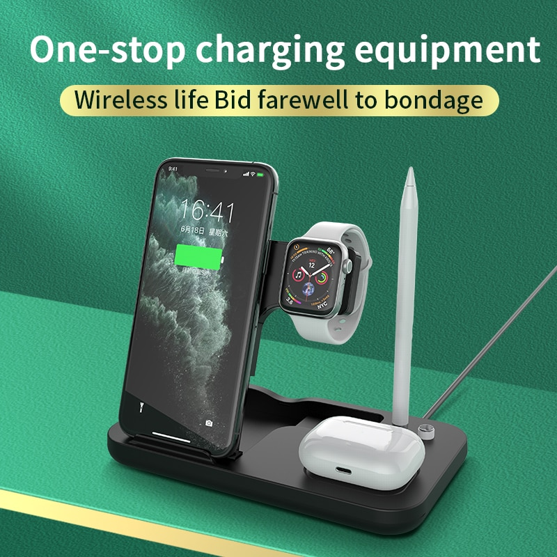 EXPUNKN Wireless Charger 4 in 1 15w Carregador Sem Fio Qi Fast Stand for Iphone Apple Watch Airpods