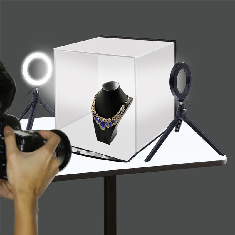 Caja de Luz Portátil 30*30CM caja de luz LED para estudio con 6 colores de fondo para mesa de fotografía caja de iluminación LED