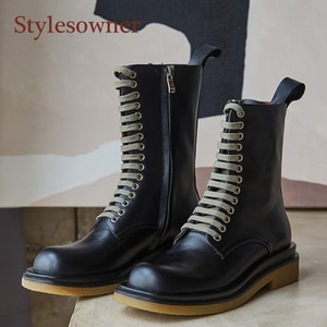 Черные женские Ботинки Martin в британском стиле из натуральной кожи со шнуровкой и боковой молнией средней длины мотоциклетные ботинки с кру...