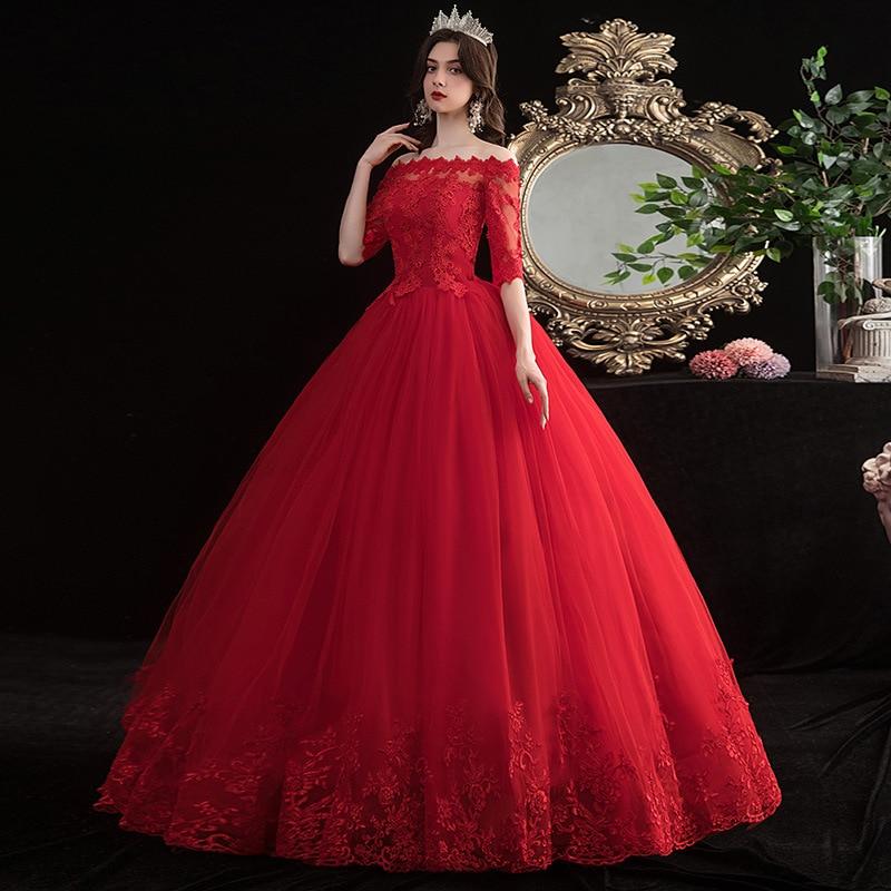 Vestido De Noiva 2020 New Red Lace Wedding Dress Elegant Boat Neck Half Sleeve Appliques Plus Size Simple Slim Bride Ball Gown L