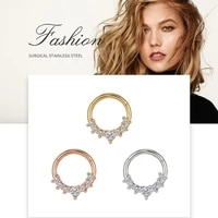 style stainless steel 7 claws zircon nose ring nose nails earrings piercing jewelry plating treatment non fading hypoallergenic