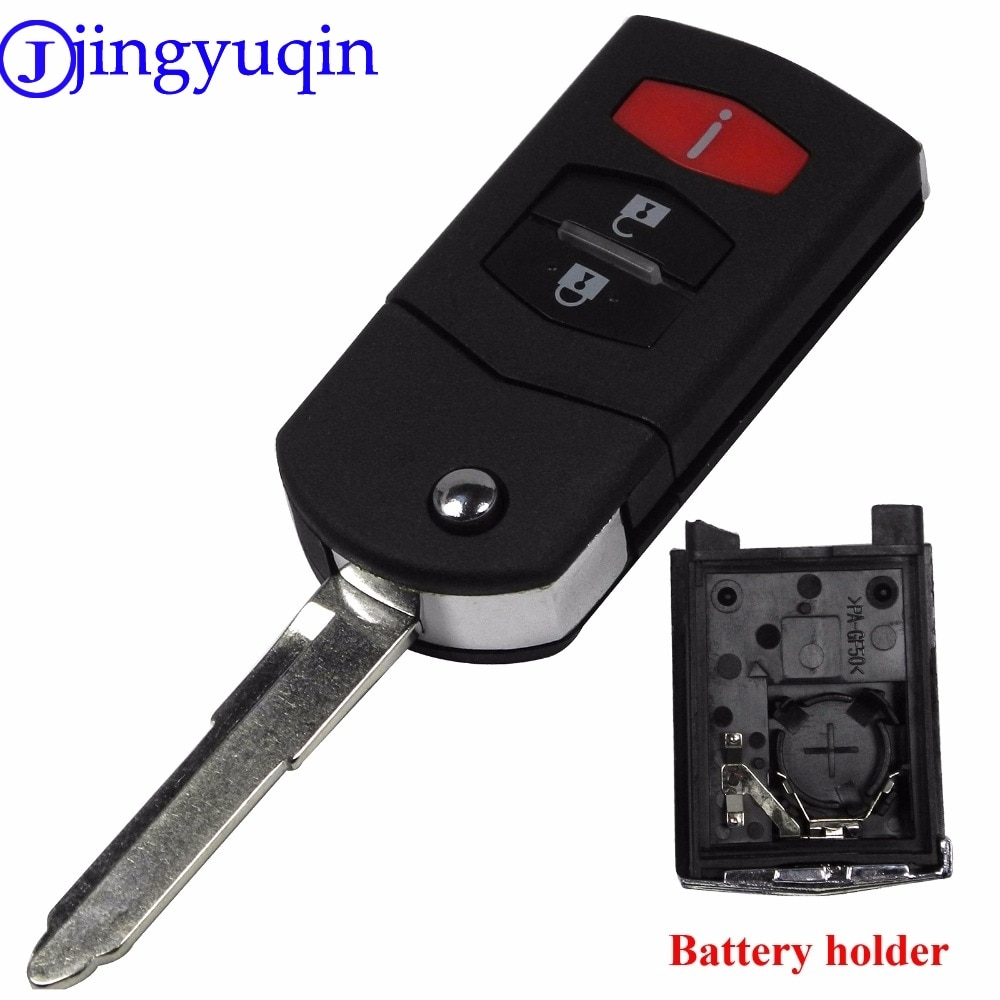 Jingyuqin 3 botões flip dobrável remoto chave do carro caso fob capa para mazda 3 5 6 cx5 cx7 cx9 rx8