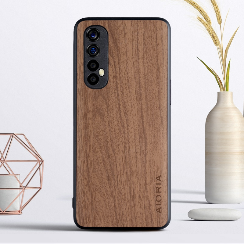 Wooden Like case for OPPO Realme 7 Pro 6 Pro 6S 5i 6i TPU+PC + wood PU leather skin covers coque fun