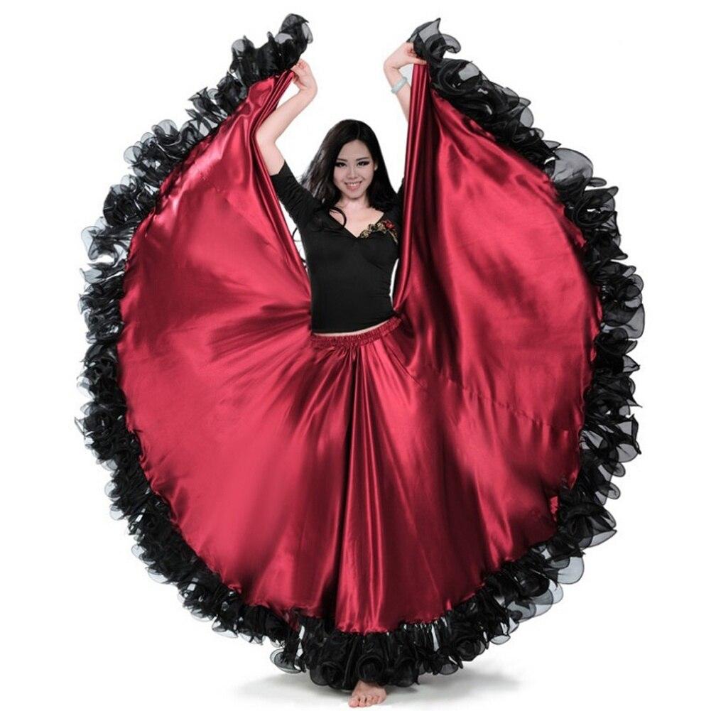 FEECOLOR-تنورة طويلة من الساتان للنساء ، بدلة رقص طويلة باللون الأحمر والأسود ، الفلامنكو الإسباني