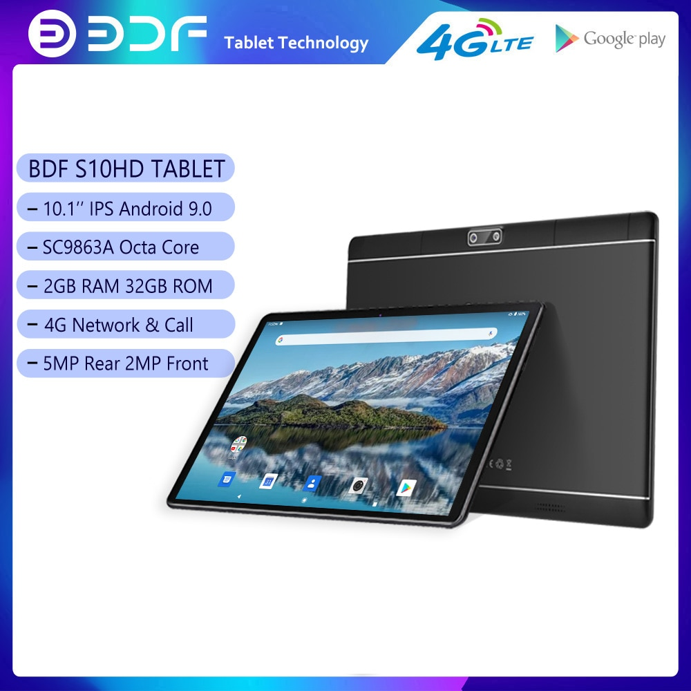BDF 10.1 بوصة الروبوت 9.0 اللوحي 3G 4G LTE مكالمة هاتفية الثماني الأساسية 2GB RAM 32GB ROM المزدوج سيم بطاقة WiFi جوجل GPS أقراص 10
