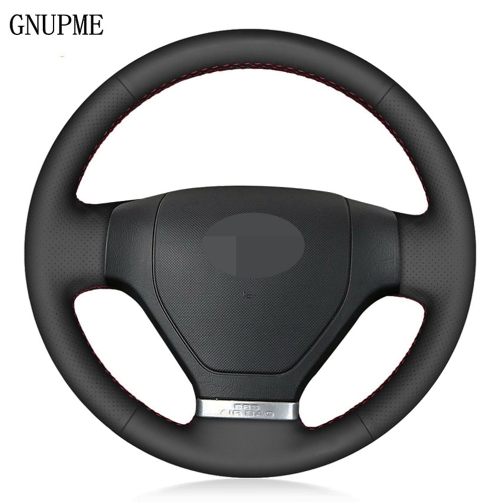 DIY Hand-stitched Black Artificial Leather Car Steering Wheel Cover For Hyundai Tiburon 2003-2008 Coupe 2002-2008
