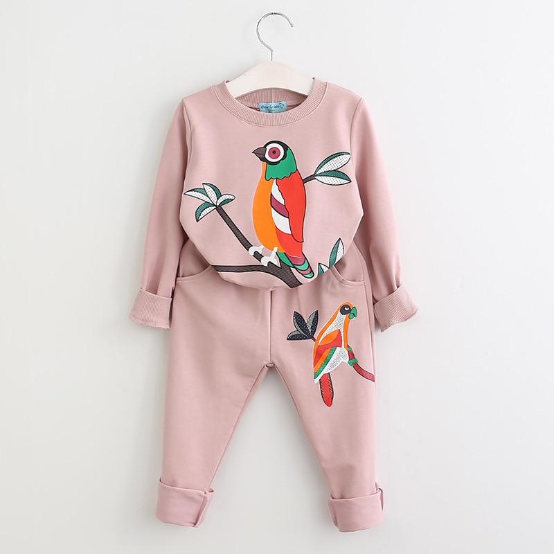 Menoea, colección Otoño 2020, conjuntos de ropa para niñas con patrón de pájaros, trajes deportivos casuales para niños, trajes de ropa deportiva con estampado de dibujos animados para niños