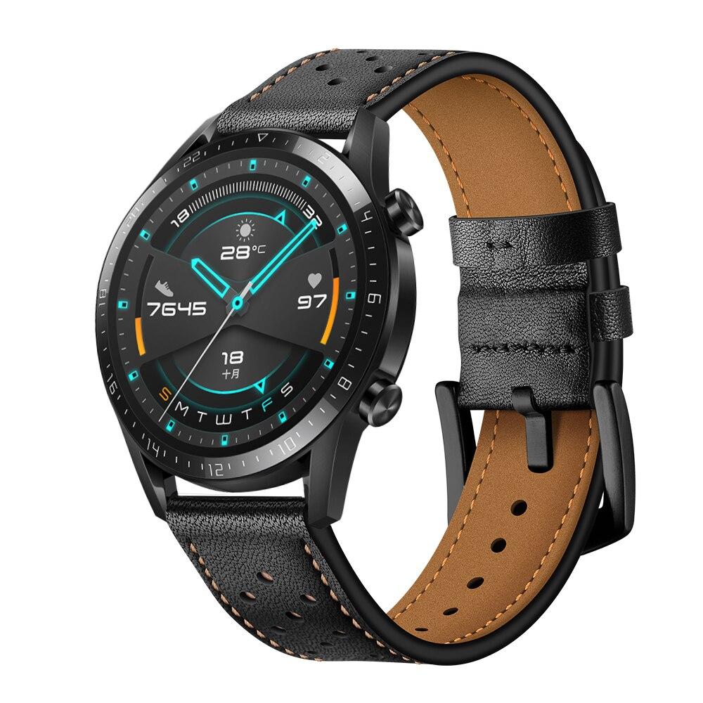Correa pulseira de couro para huawei relógio gt 2e 2 46mm 42mm pulseira para honra magia/magicwatch 2 acessórios substituíveis