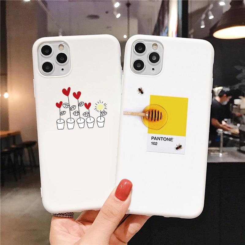 Bonito casal branco matte caso do telefone para o iphone 11 pro x xr xs max silicone macio tpu volta caso para o iphone se 2020 6s 7 8 mais capa