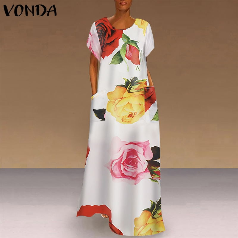 bohemian women maxi long dress 2019 vonda summer o neck long sleeve pattern print dresses casual loose party vestidos plus size VONDA Bohemian Dress Women Casual Vintage Patchwork Plaid Maxi Dress 2021 Summer Beach Sundress Plus Size Long Party Dresses