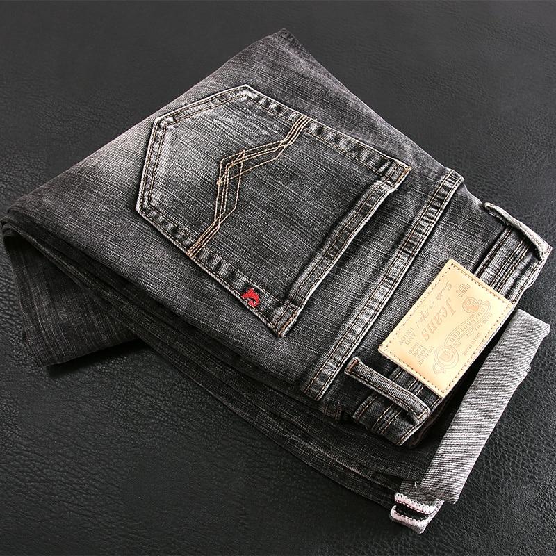 Новые винтажные модные мужские джинсы высокого качества Ретро Черные Серые Узкие рваные джинсы мужские дизайнерские повседневные хлопков...