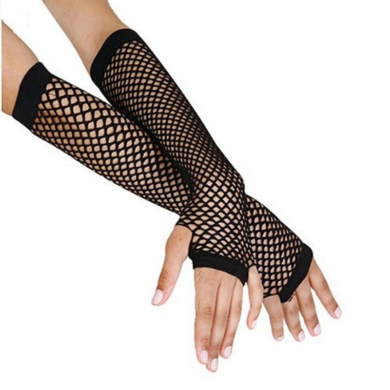 Stylish Long Black Fishnet Gloves Womens Fingerless Gloves Girls Dance Gothic Punk Rock Costume Fancy Gloves