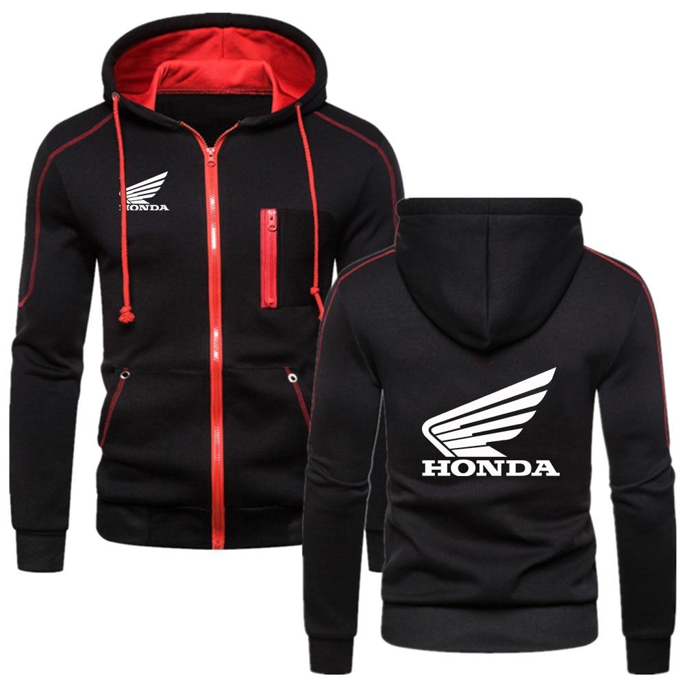 Новинка 2021, модный флисовый Мужской и Женский пуловер с капюшоном и принтом логотипа Honda Wings, повседневный худи на молнии